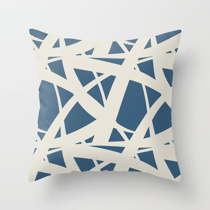 Linen White & Blue Abstract Mosaic Pattern 3 Pairs To 2020 Color of the Year Chinese Porcelain Throw Pillow