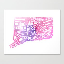 Typographic Connecticut - pink watercolor map Canvas Print