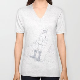 Dick Turpin pencil art Unisex V-Neck