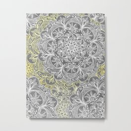 Yellow & White Mandalas on Grey Metal Print