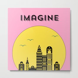 The Imaginary City (pink) Metal Print