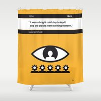 1984 Shower Curtains featuring No008 MY 1984 Book Icon poster by Chungkong