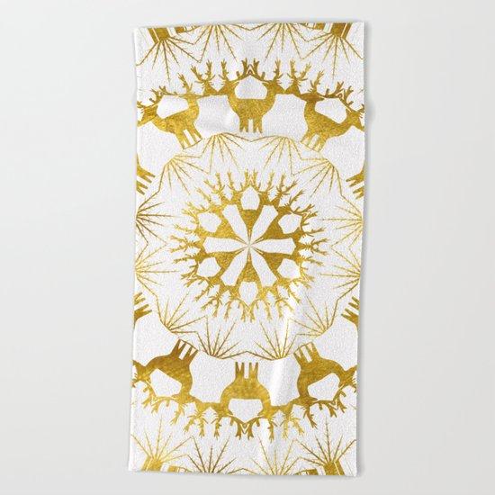 Gold Christmas 05 Beach Towel