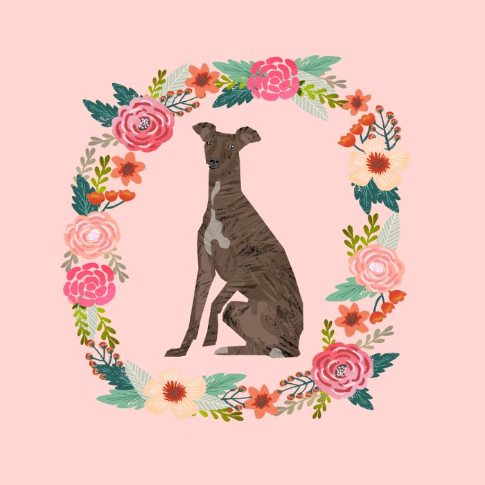 italian greyhound floral wreath dog breed pet portrait pure breed dog lovers Comforters