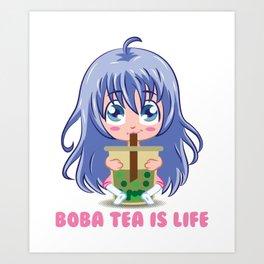 Japanese Anime Girl manga boba tea gift Art Print