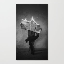 News on Fire (Baclk and White) Canvas Print