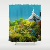 hawaiian Shower Curtains featuring Hawaiian Cemetery by Elliott's Location Photography