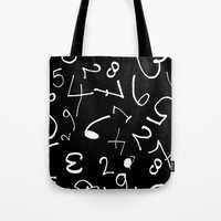 numbers Tote Bags featuring numbers by annemiek groenhout
