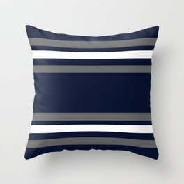 Navy and Silver Gray Stripes Throw Pillow