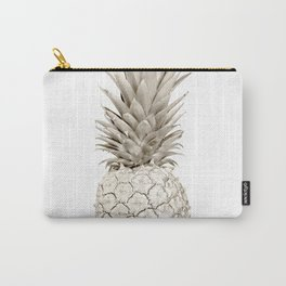 Minimalist White Gold Painted Pineapple Carry-All Pouch