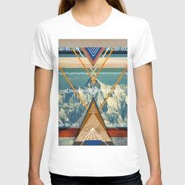 Instinct Calling - Mountain, Landscape, Native American Inspired Geometric Art Print  T-shirt