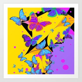 YELLOW & LILAC BLUE BUTTERFLY ABSTRACT  ART Art Print