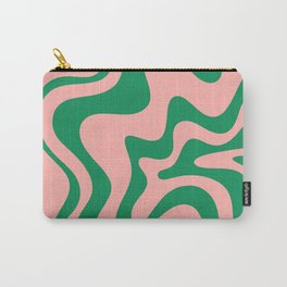 Liquid Swirl Retro Abstract Pattern in Pink and Bright Green Carry-All Pouch