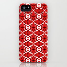 Convergence Pattern - Red on White with Black iPhone Case