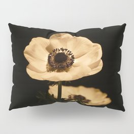 Anemone Flowers, Black with Golden Frame, Floral Nature Photography Pillow Sham