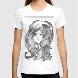 girl hairstyle T-shirt