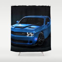 B5 Blue Hellcat Challenger SRT Shower Curtain