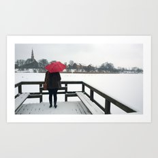 Copenhagen - Red Umbrella Art Print