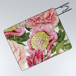 Vintage & Shabby Chic Floral Peony & Lily Flowers Watercolor Pattern Picnic Blanket