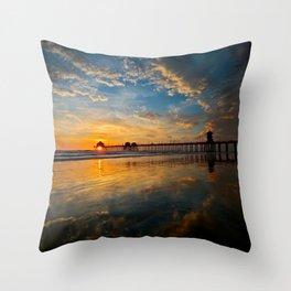 Huntington Beach Sunset  1/28/14 Throw Pillow