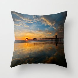 Huntington Beach Sunset  1/28/14 Throw Pillow