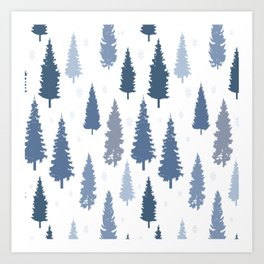 Pines and snowflakes pattern Art Print
