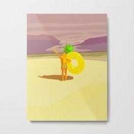 Vintage beach landscape girl taking a pineapple buoy Metal Print