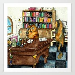 Cat laboratory Art Print