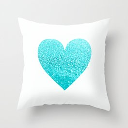 AQUA HEART Throw Pillow