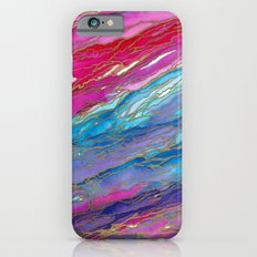 AGATE MAGIC PinkAqua Red Lavender, Marble Geode Natural Stone Inspired Watercolor Abstract Painting Slim Case iPhone 6s