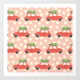 Red Vintage Holiday Christmas Cars Art Print