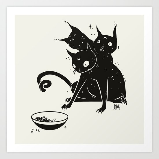 Creepy Cute Three Headed Black Cat Artwork Art Print By Cellsdividing Society6