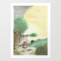 Little Moon Girl Art Print