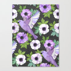 Purple Paper Anemone Collage Canvas Print
