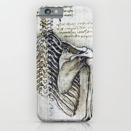 Leonardo Da Vinci human body sketches - skeleton iPhone Case