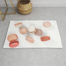 French Macarons Print, Sweet Macaroons Art, Minimalist Food Print, Paris Cuisine Decor, Pastel Cookies Print, French Patisserie Flat Lay Rug