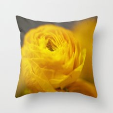 Golden Ranunculus Flowers Throw Pillow