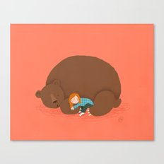 Bear and girl: sleeping Canvas Print