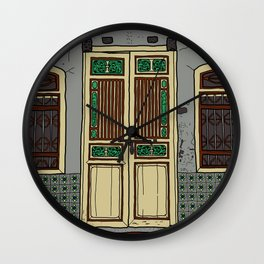 Old Penang Door #5 Wall Clock