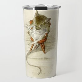 Grandfather Mouse Reading the Newspaper Travel Mug