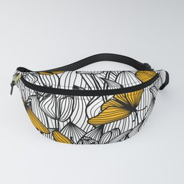 Butterfly Garden Black and White Fanny Pack