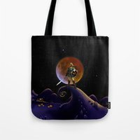 lannister Tote Bags featuring Nightmare Halloween Zelda Link  by alexa
