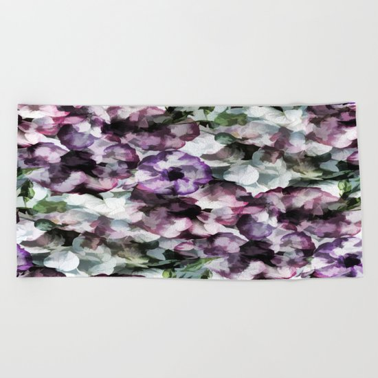 Vintage Floral Abstract Beach Towel