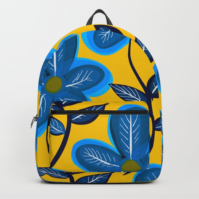 Blue Flowers and Yellow Pattern Backpack
