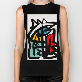 Street art abstract portrait pop Biker Tank