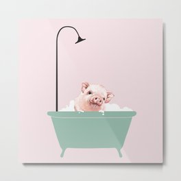 Baby Pink Pig Enjoying Bubble Bath Metal Print