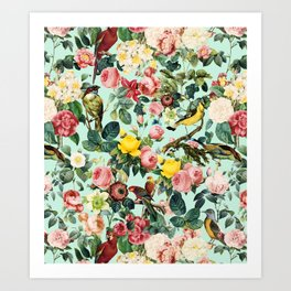 Floral and Birds III Art Print