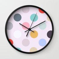 polka dots Wall Clocks featuring Polka Dots by Color & Theory