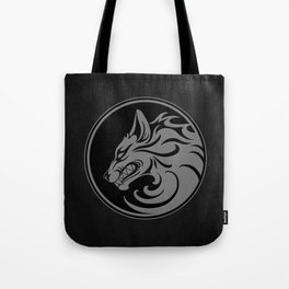 Gray and Black Growling Wolf Disc Tote Bag