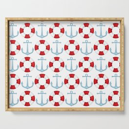 Anchors And Buoys Pattern Serving Tray
